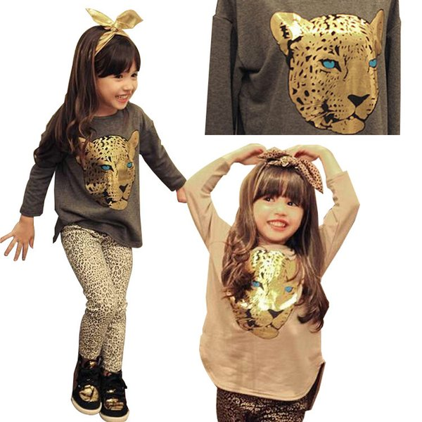 2019 Summer Toddler Girls Clothing Sets 2-8 Years Kid Tiger Tops+Leopard Legging 2pcs Girl Clothes Set Children Costume Suit