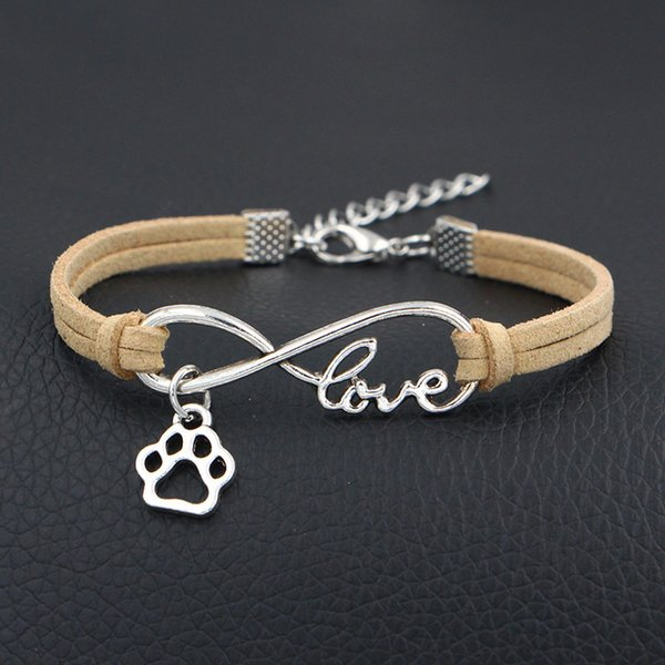 Newest Braided Single layer Beige Leather Suede Bracelets Bangles Infinity Love Dog Paw Prints Charm Jewelry Gift For Women Men Dropshipping