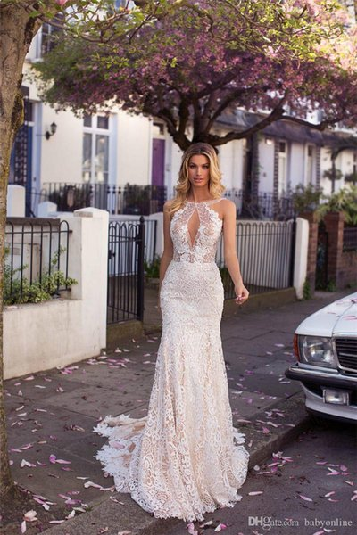 Romantic Full Lace Mermaid Wedding Dresses 2019 Champagne Underlay Appliques Sexy Low Backless Keyhole Neck Country Bridal Wedding Dresses 2015 Lace