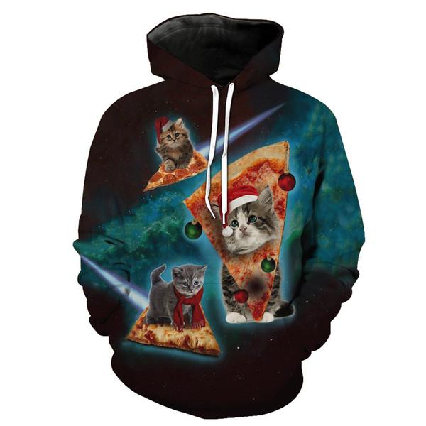 Neue Herbst und Winter Herren 2019 Luxus Designer Kleidung Pizza Kätzchen Druck Casual Sport Designer Hoodies Mode Hipster Männer Sweatshirt