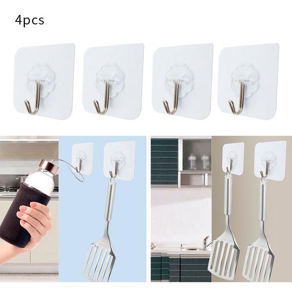 4 pezzi cuscinetto 3kgs adesivo rinforzato Hook parete Lucky Clover trasparenti Cucina Ganci impermeabile accessori per il bagno Set