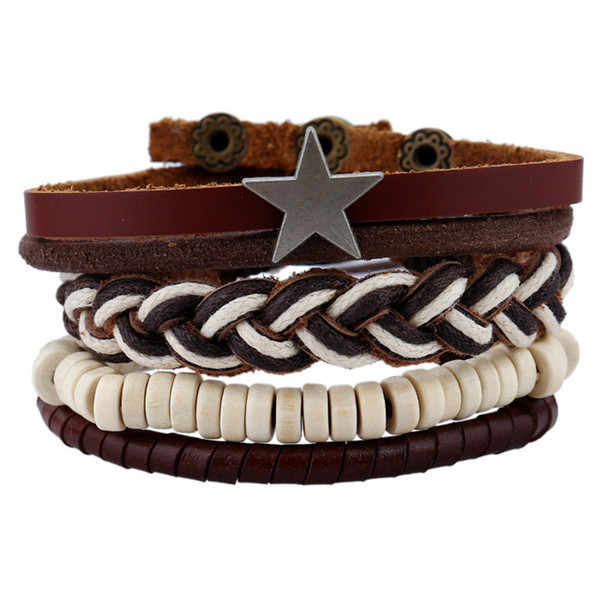 11 styles Time-limited Direct Selling Boys Invisible Setting Magnet Vintage Geometric The And Leather Bracelet Multilayer Hand Woven pksp6-7