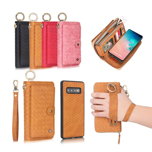 Large Capacity Zipper Wallet Case PU Leather 360 Degree Protection Shell Magnet Detanchable Back Cover for Galaxy S10 S10e S9 S8 Note9 Note8