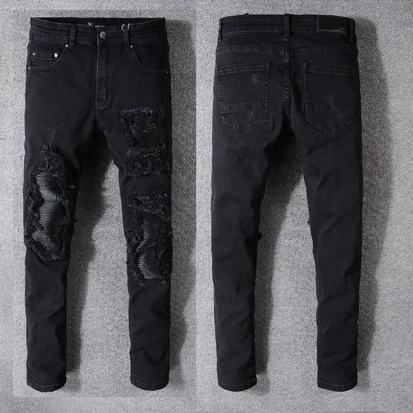 Jeans alta calidad 18SS Nuevo estilo francés hombres de la moda Color Azul flaco Fit empalmado rasgada Calle destruida motorista Denim Jeans 08
