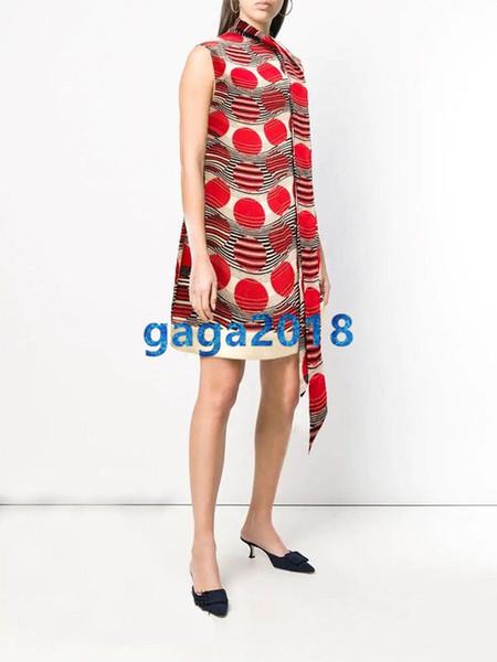 High end Women's girls Short silk dress with bow summer SLEEVELESS round neck slim A-LINE dress with prints shirt dress Back zip closurec