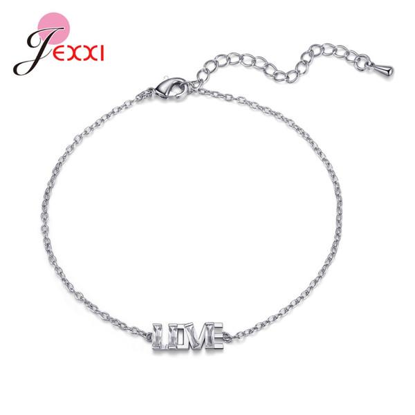 Nouvelle arrivée douce Lettre I LOVE U Bracelets Pendentif argent 925 Bijoux Accessoires Femme Porte-main pour soirée de mariage