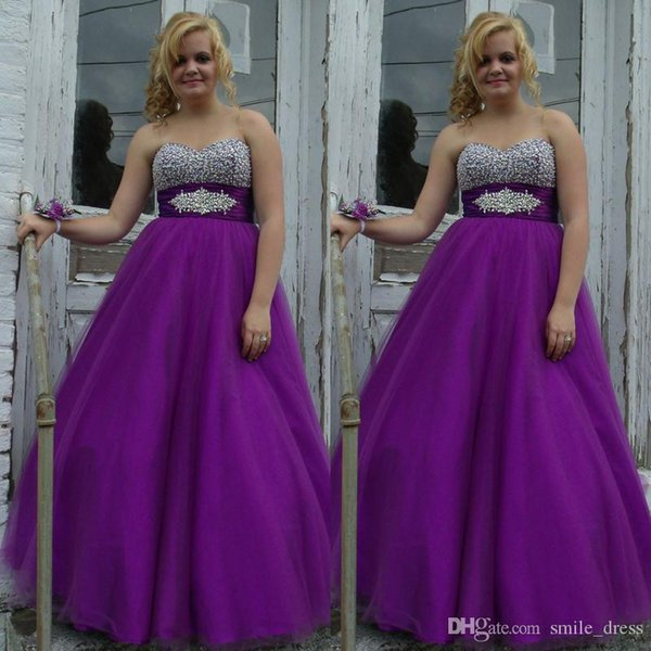 Purple Plus Size Prom Dresses A Line Heavily Beaded Sweetheart Empire Waist Lace Up Tulle Evening Dresses Custom Made SP381