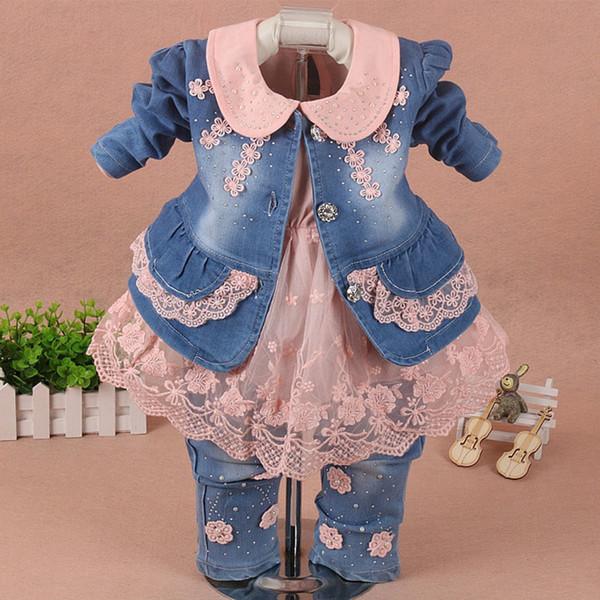 Children Set Baby Girl Clothes 3 Pieces Suit Coat Denim Pants Autumn Spring Roupa Jeans Para Infant Toddler Kid Pink Kit De Bebe J190508