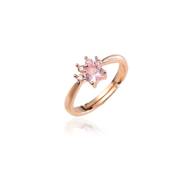 Cute Bear Paw Cat Claw Opening Adjustable Size Ring Rose Gold Rings for Women Romantic Wedding Pink Crystal CZ Love Gifts