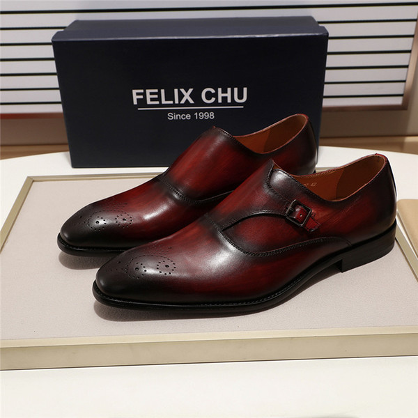 3 Farben Europäischen Stil Gentleman Mönch Strap Schuhe Männer Elegant Slip On Loafers Kleid Schuhe für Männliche Party Schnalle Flasch ...
