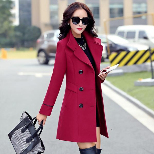 Vêtements pour femmes 2019 Manteau Femme Nouveau mode printemps manteaux à col Turn-solide double breasted manteaux Pocket Slim Woollen Y191101