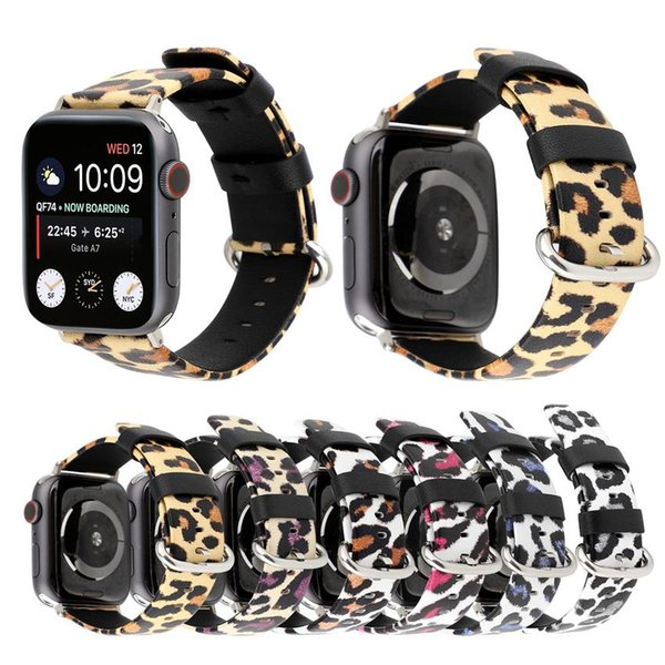 Genuine Leather Watchband For Apple Watch Size 38/40mm 42/44mm Fashion Leopard Printing Replacement Band Strap for iwatch Series 1 2 3 4