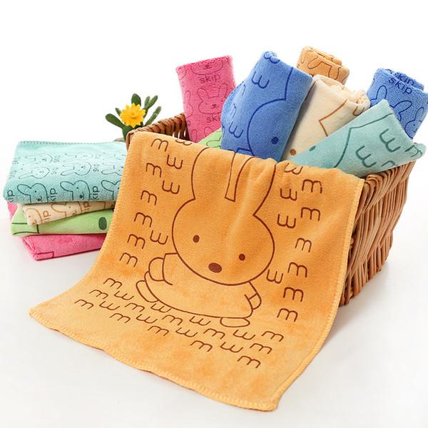 Towel microfiber children's towel 25*50CM water-absorbing cartoon printing small towel ( 5PCS )