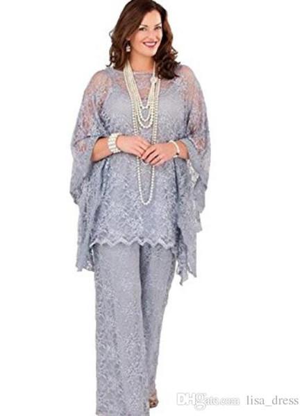 Lace Mother of the Bride Pantalone 2017 Maniche lunghe Tre pezzi Silver Grey Formal Women Plus Size Abiti da sposa sposo per matrimonio