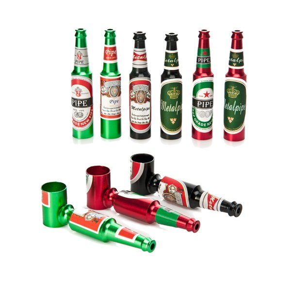 Small Beer Bottle Metal Smoking Hand Pipe Stylish Mini Size Tobacco Smoke Filter Pipes Portable Oil Burner Pipe Smoking Accessories