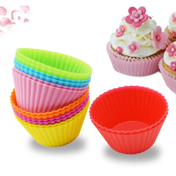2019 7cm Silicone Round Reusable Baking Cake Molds Cupcake Maker Muffin Cup (Random Color) cake pop mold