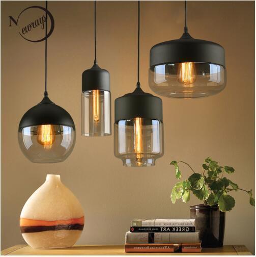 Nordic Moderno loft colgante de cristal lámpara colgante accesorios E27 E26 LED luces colgantes para cocina restaurante Bar sala de estar dormitorio