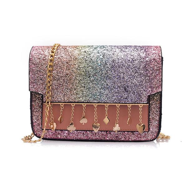 Borsa a tracolla a forma di arcobaleno con paillettes Borsa a tracolla con nappe a forma di pochette Ladies Love Star lucide Borse a tracolla in pelle Messenger di nuova moda