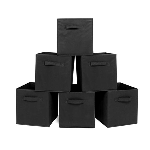 2019 NOVO Cubos De Armazenamento De Pano Cubos Cestas Recipientes com Dupla Alças De Plástico para Casa Armário Organizadores Gavetas Do Quarto, Dobrável