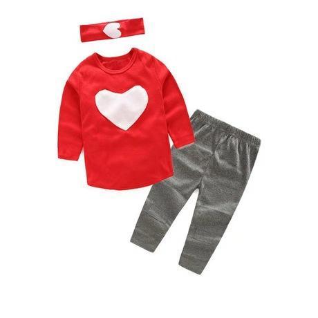2018 New girls love heart 3Pc Set girls headband +Pants+Tshirt kids girls clothes sets,baby girl long sleeve shirt