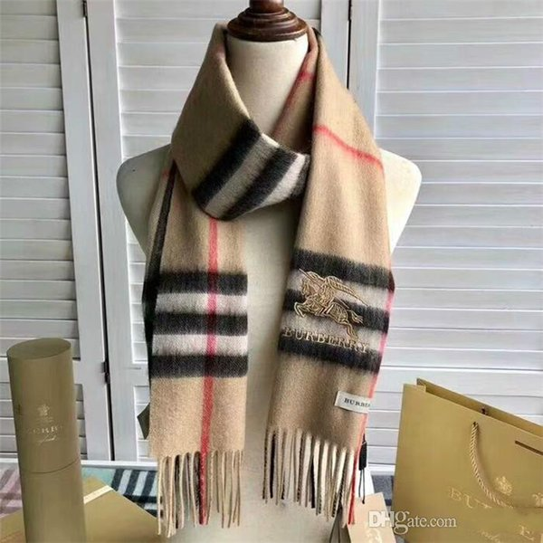 Écharpe de créateur de marque de mode automne hiver écharpes d'hommes et de femmes doux 100% écharpes de cachemire foulards de luxe de broderie marque