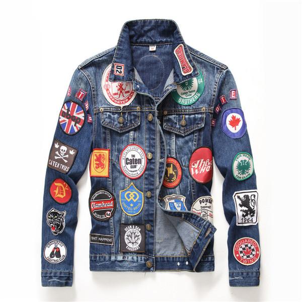 Adesivos Men Demin Jacket Design de Moda Casacos Padrão Outerwear Casaco Outono Inverno Skate Hip Hop Casacos