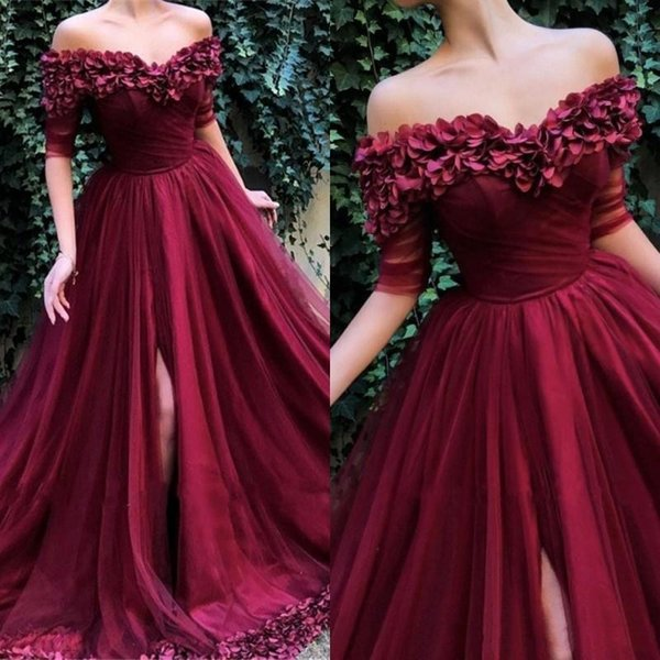 2019 New Sexy Burgundy Evening Dresses Wear Off Shoulder Hand Made Flowers A Line Front Split Plus Size Party Pageant Prom Gowns