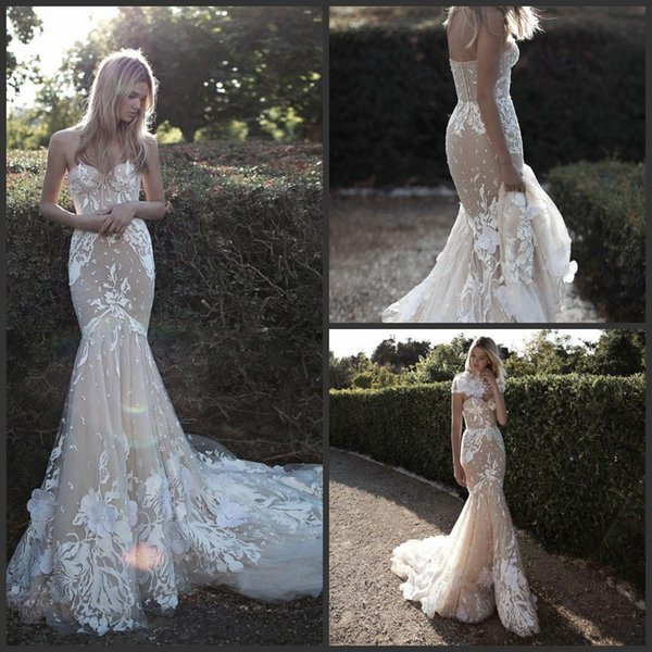 2019 New Idan Cohen Lace Wedding Dresses Mermaid Nude Trumpet Sweep Train Sweetheart Neckline Appliqued Bridal Gowns With Wraps