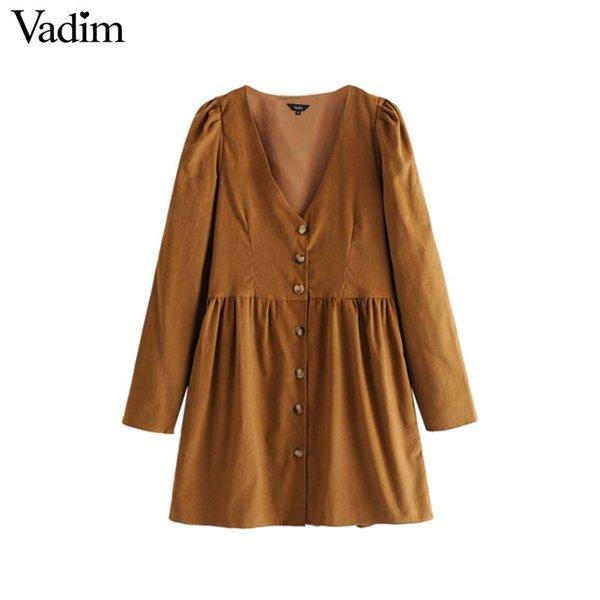 оптовые женщины V шеи вельвет плиссированные кнопки платье карманы с длинным рукавом твердые старинные женские повседневные милые платья vestidos QA703