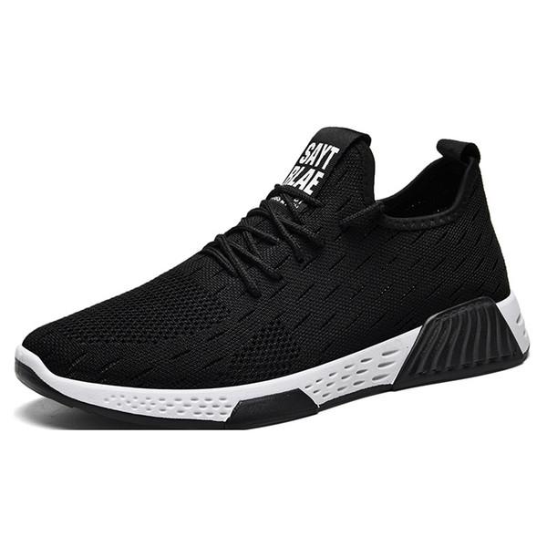 New Flying Tejiendo la zapatilla de deporte de los holgazanes zapatos para hombre Negro para hombre blancas zapatillas de deporte de los zapatos planos ocasionales de los hombres con cordones de zapatos de hombre zapatillas deportivas