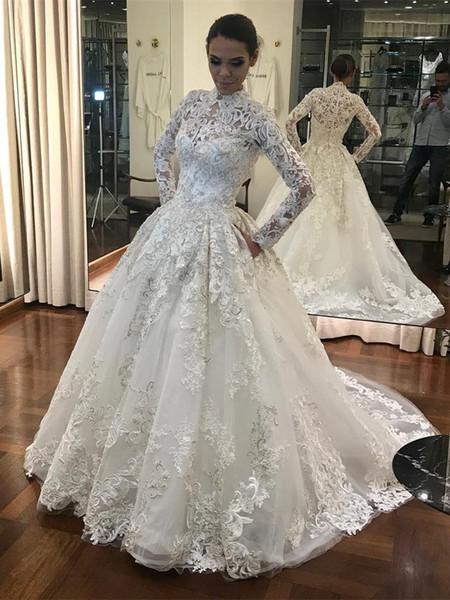 Muslim Kaftan Ball Gown Wedding Dresses 2019 High Neck Covered Button Back Full lace Applique Long Sleeve Dubai Arabic Church Wedding Gown