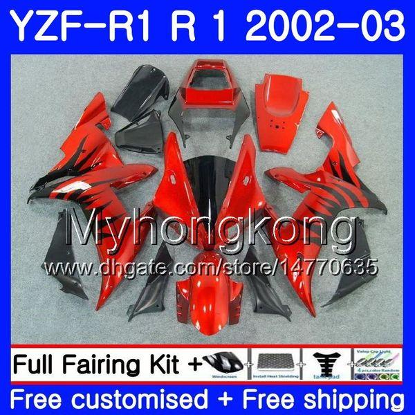 Chamas pretas vermelhas Bodys Para YAMAHA YZF-1000 YZF R 1 YZF R1 2002 2003 Lataria 237HM.46 YZF 1000 YZF-R1 02 YZF1000 Molduras YZFR1 02 03 Carenagem
