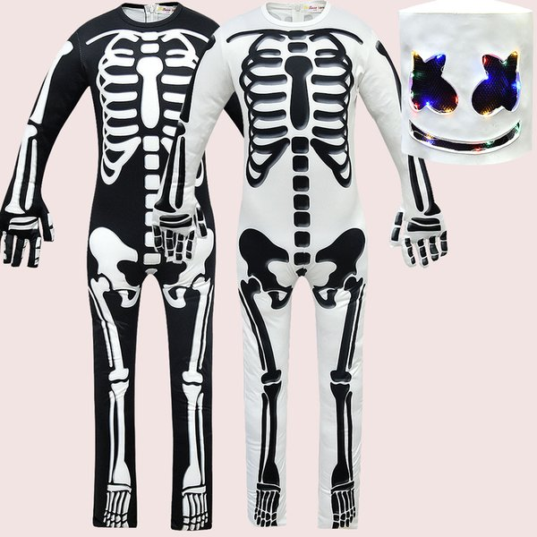 DJ marshmello baby romper 2019 Spring Autumn Skull Print Jumpsuits with helmet fashion Boutique Kids Clothing MMA1540