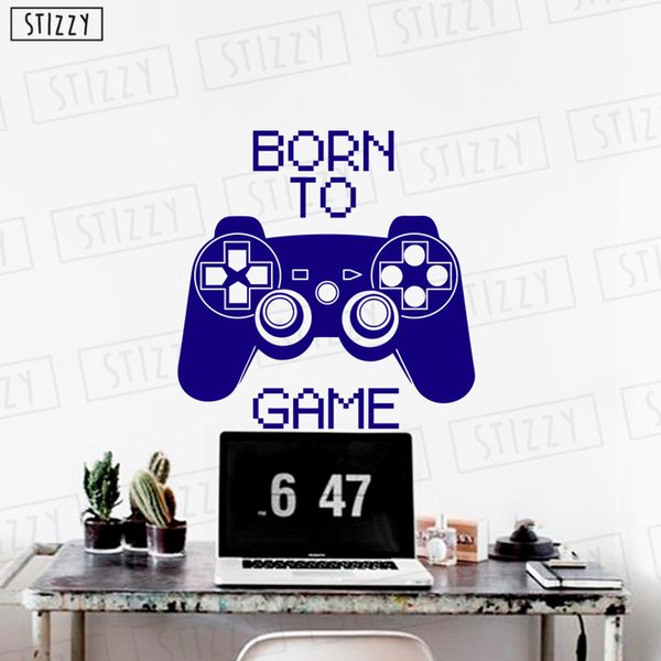 STIZZY Wall Decal Game Controller Poster Quotes Born To Game Vinyl Wall Stickers Removable Boy Bedroom Creative Modern DecorC532