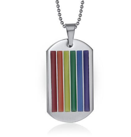 Men Rainbow Lesbian Gay Pride Victory Stainless Steel LGBT Colorful Enamel Pendants Chain Long Necklace Women Jewelry Dog Tags