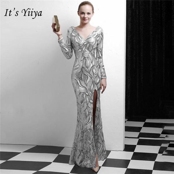 É Yiiya muçulmano vestido de noite de manga comprida com zíper de volta vestidos de festa do assoalho-comprimento de lantejoulas tira de ouro preto vestidos de baile C103