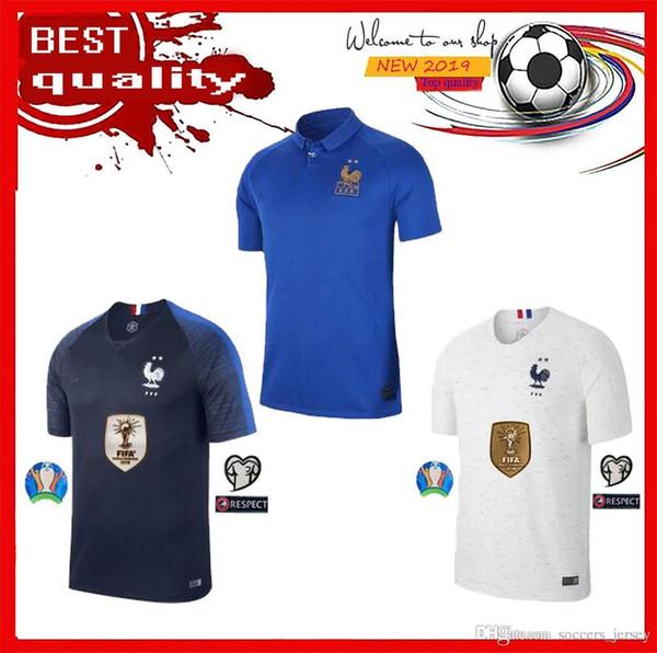 newFree shipping 2019 2020 France soccer jersey POGBA GRIEZMANN MBAPPE 100th Jersey 19 20 Thailand top quality soccer uniform S XXXL