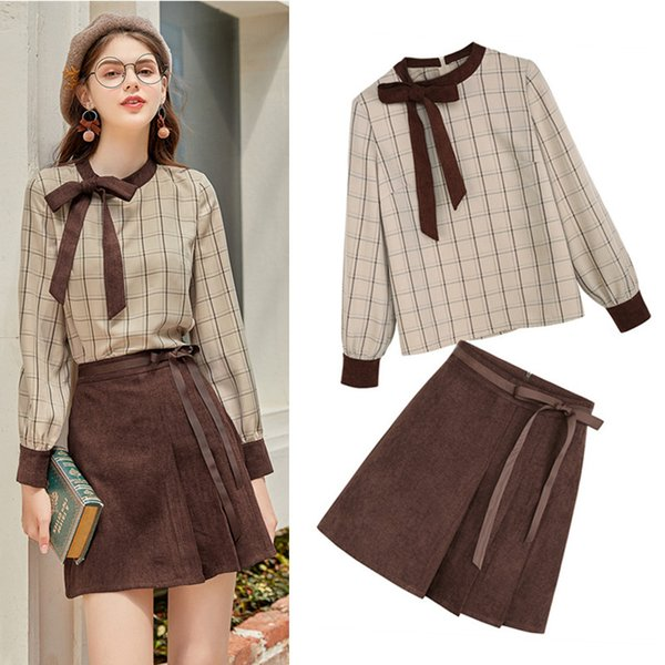spring autumn british style women long sleeve plaid grid blouses  with bows and sashes party skirt suits twinset ns198