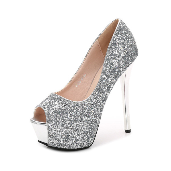 peep toe platform heels 12/14CM Stiletto black Pumps Women Shoes high heel Sexy Sequins Silver Heels