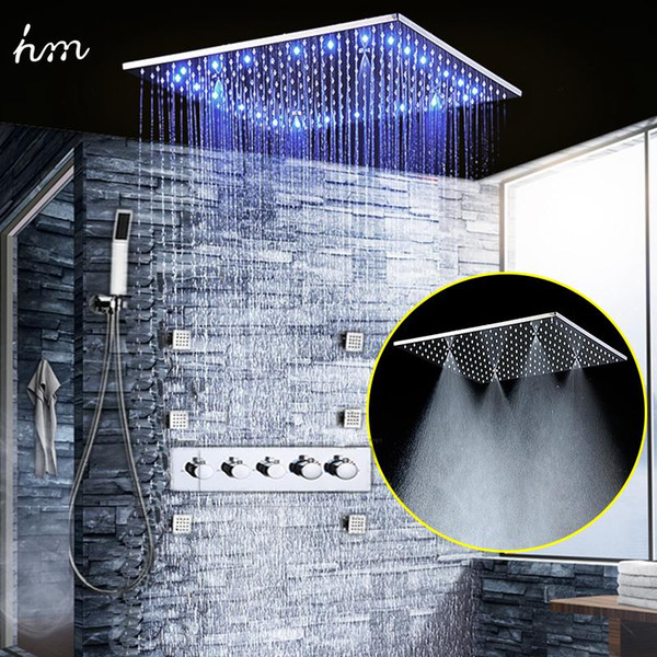 Luxury Bath Accessory Set 4 Way Temperature Control LED Color Change Chrome Bathroom Thermostatic Shower System with Hand Spray 20180927#