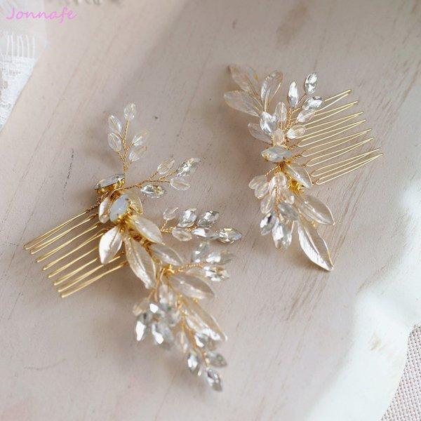 Jonnafe 2018 Gold Leaf Hair Comb Pins cristalino de la boda Headpiece Vintage nupcial pieza de pelo accesorios hechos a mano Y19061905