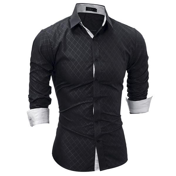 Brand 2019 Fashion Male Shirt Long-sleeves Tops Classic Lined With Dark Lines Mens Dress Shirts Slim Men Shirt Xxl