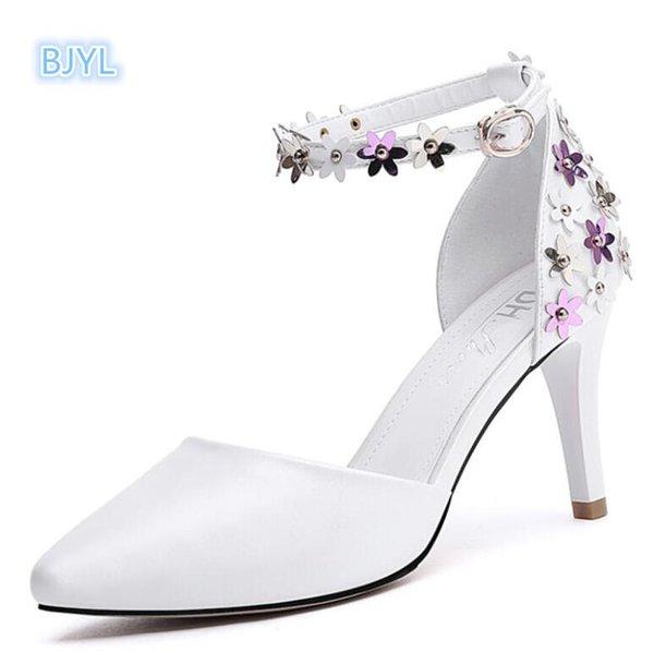 BJYL 2017 yeni beyaz yüksek topuklu ayakkabılar, onur ayakkabı yaz hizmetçisi, keskin, sığ ayakkabılar, topuklu ayakkabılar.