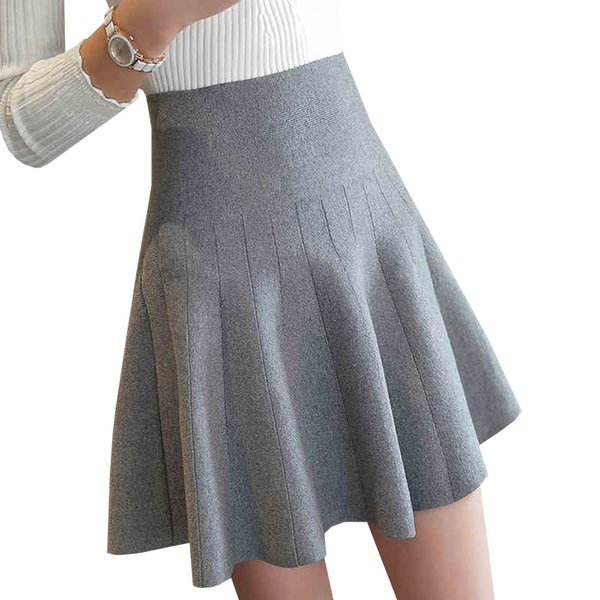 Nuevas mujeres de punto falda otoño invierno sexy sólido de cintura alta faldas cortas paraguas falda plisada señoras mini falda elástica ab525 sh190824