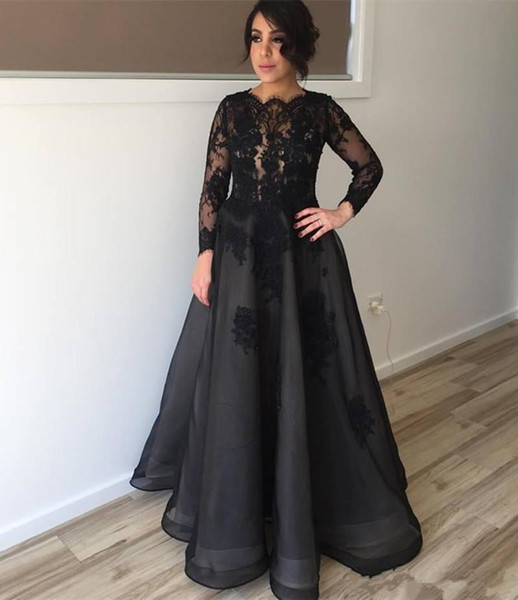 Full Sleeves Mother's Dresses Black Appliques A Line Prom Dress Lace Long Floor Length Custom Made Special Occasion Evening Gowns Fashion
