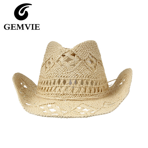 Summer Hats Cowboy Caps for Women Casual Solid Color Straw Hat Panama Hat Men Hollow-Out Beach Sun Hat D19011106