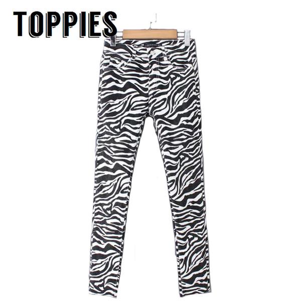 2018 Otoño Invierno Mujer Zebra Striped Jeans Elástico de cintura alta Skinny Jeans Button Fly White and Black Denim Pants