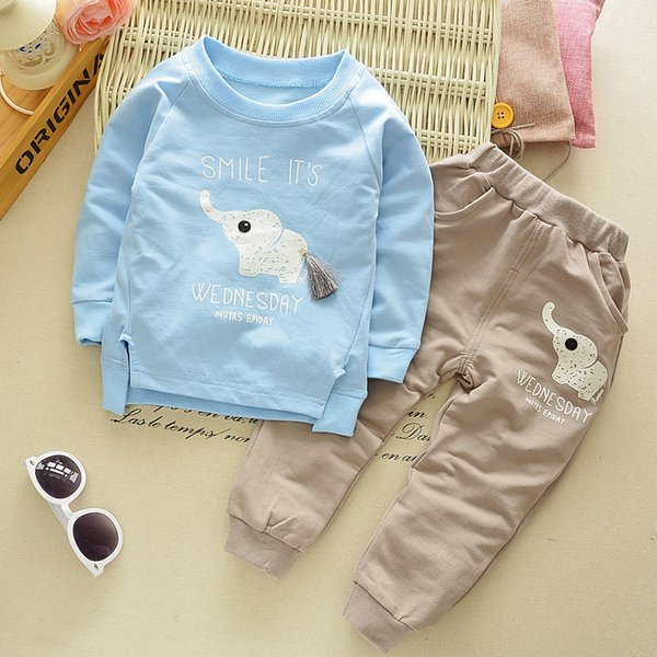 Children Spring Clothing Long Sleeved Cartoon Animal Clothes Suit Kids Boys Coat + Trousers 2pcs Set 2-5Y Baby Cotton