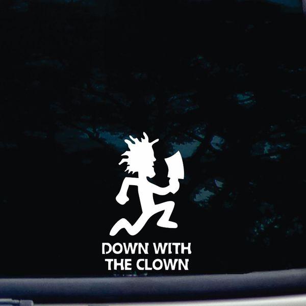 Abbasso i adesivi in vinile tagliato Clown decalcomania per finestre, cassette degli attrezzi, computer portatili, notebook 6 '' bianco alto