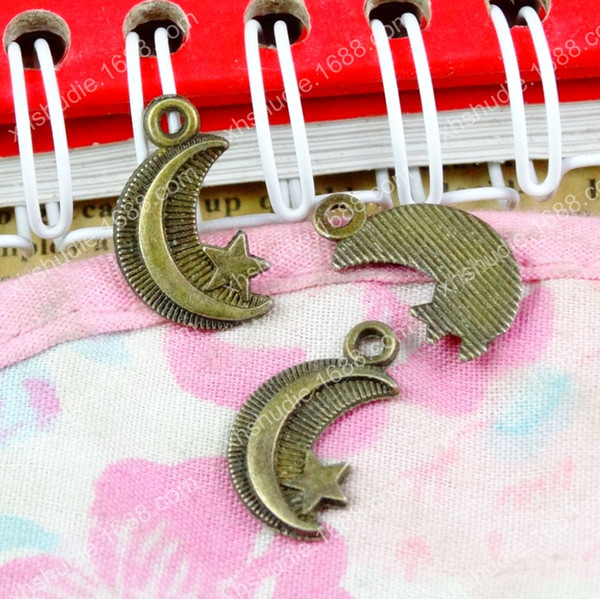 100pcs 16*10MM Fashion alloy tibetan antique bronze moon star charms for bracelet vintage metal pendants earring handmade DIY jewelry making